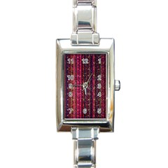 Colorful And Glowing Pixelated Pixel Pattern Rectangle Italian Charm Watch by Jojostore