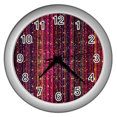 Colorful And Glowing Pixelated Pixel Pattern Wall Clock (silver) by Jojostore