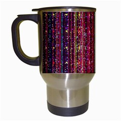 Colorful And Glowing Pixelated Pixel Pattern Travel Mugs (white) by Jojostore