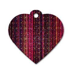 Colorful And Glowing Pixelated Pixel Pattern Dog Tag Heart (two Sides) by Jojostore