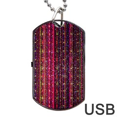 Colorful And Glowing Pixelated Pixel Pattern Dog Tag Usb Flash (two Sides) by Jojostore