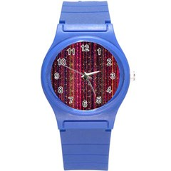Colorful And Glowing Pixelated Pixel Pattern Round Plastic Sport Watch (s) by Jojostore