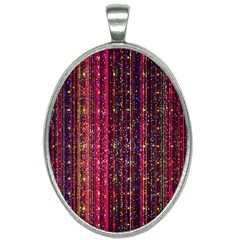 Colorful And Glowing Pixelated Pixel Pattern Oval Necklace by Jojostore