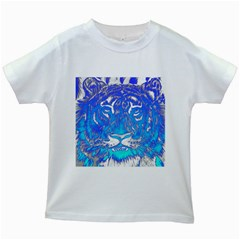 Background Fabric With Tiger Head Pattern Kids White T Shirts by Jojostore