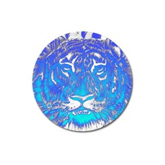 Background Fabric With Tiger Head Pattern Magnet 3  (round) by Jojostore