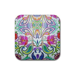 Wallpaper Created From Coloring Book Rubber Square Coaster (4 Pack)  by Jojostore