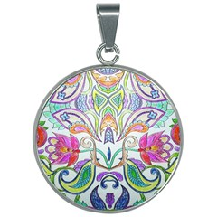 Wallpaper Created From Coloring Book 30mm Round Necklace