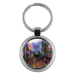 Downtown Chicago Key Chains (round)  by Jojostore