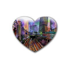 Downtown Chicago Heart Coaster (4 Pack)