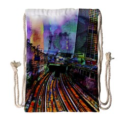 Downtown Chicago Drawstring Bag (large) by Jojostore