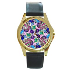 Wallpaper Created From Coloring Book Round Gold Metal Watch by Jojostore