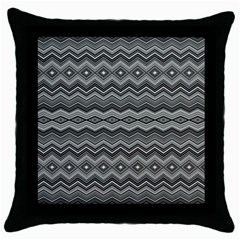 Greyscale Zig Zag Throw Pillow Case (black) by Jojostore