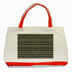 Greyscale Zig Zag Classic Tote Bag (red)