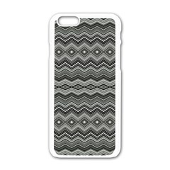 Greyscale Zig Zag Apple Iphone 6/6s White Enamel Case by Jojostore