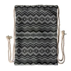 Greyscale Zig Zag Drawstring Bag (large) by Jojostore