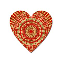 Gold And Red Mandala Heart Magnet by Jojostore