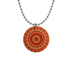 Gold And Red Mandala 1  Button Necklace