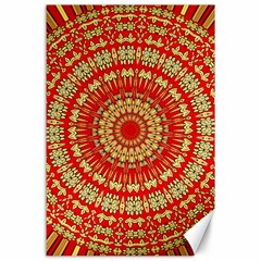 Gold And Red Mandala Canvas 24  X 36  by Jojostore