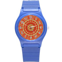 Gold And Red Mandala Round Plastic Sport Watch (s) by Jojostore