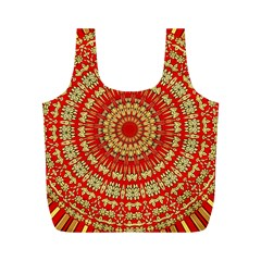 Gold And Red Mandala Full Print Recycle Bag (m) by Jojostore