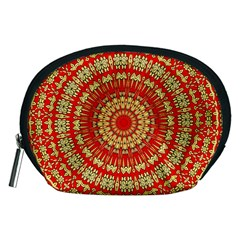 Gold And Red Mandala Accessory Pouch (medium) by Jojostore