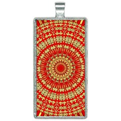 Gold And Red Mandala Rectangle Necklace by Jojostore
