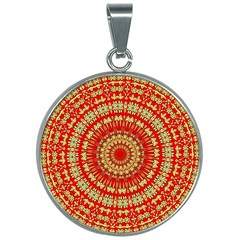 Gold And Red Mandala 30mm Round Necklace