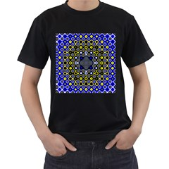 Digital Art Background Yellow Blue Men s T Shirt (black) (two Sided)