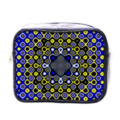Digital Art Background Yellow Blue Mini Toiletries Bag (one Side)