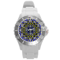 Digital Art Background Yellow Blue Round Plastic Sport Watch (l) by Sapixe