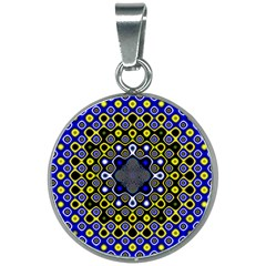 Digital Art Background Yellow Blue 20mm Round Necklace