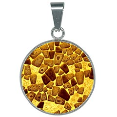 Yellow Cast Background 25mm Round Necklace