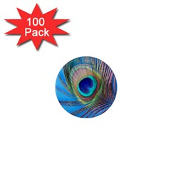 Peacock Feather Blue Green Bright 1  Mini Magnets (100 Pack)  by Jojostore