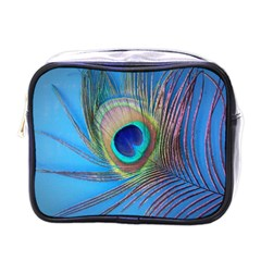 Peacock Feather Blue Green Bright Mini Toiletries Bag (one Side)