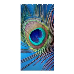Peacock Feather Blue Green Bright Shower Curtain 36  X 72  (stall)  by Jojostore
