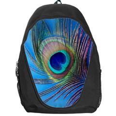 Peacock Feather Blue Green Bright Backpack Bag by Jojostore