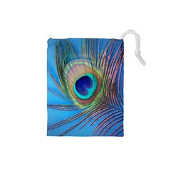 Peacock Feather Blue Green Bright Drawstring Pouch (small)