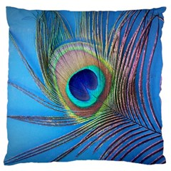 Peacock Feather Blue Green Bright Standard Flano Cushion Case (one Side) by Jojostore