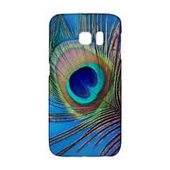 Peacock Feather Blue Green Bright Samsung Galaxy S6 Edge Hardshell Case by Jojostore