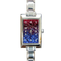 Autumn Fractal Forest Background Rectangle Italian Charm Watch by Jojostore