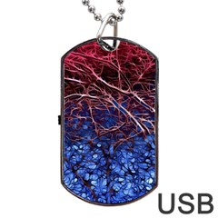 Autumn Fractal Forest Background Dog Tag Usb Flash (two Sides) by Jojostore