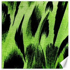 Green Tiger Background Fabric Animal Motifs Canvas 16  X 16