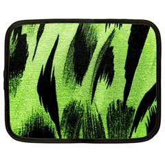 Green Tiger Background Fabric Animal Motifs Netbook Case (large) by Jojostore