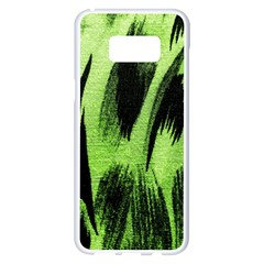 Green Tiger Background Fabric Animal Motifs Samsung Galaxy S8 Plus White Seamless Case by Jojostore