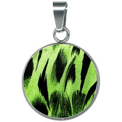 Green Tiger Background Fabric Animal Motifs 20mm Round Necklace