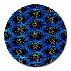 Blue Bee Hive Pattern Round Mousepads by Jojostore
