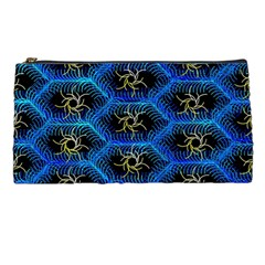 Blue Bee Hive Pattern Pencil Cases