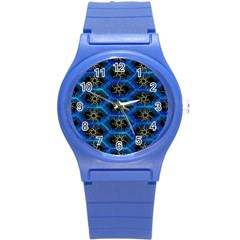 Blue Bee Hive Pattern Round Plastic Sport Watch (s)
