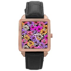 Floral Pattern Rose Gold Leather Watch  by Jojostore