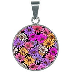 Floral Pattern 25mm Round Necklace